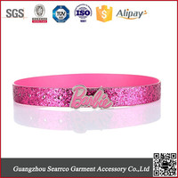 2015 newest Fashion Children pu belt with glitter with alloy buckle
