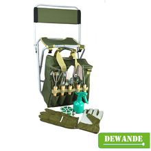10-piece Garden Tool Set with Zippered Detachable Tote and Folding Stool Seat with Backrest