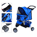 3 Wheels Travel Dog Pet Stroller, Pink Blue Coffee Grey Red