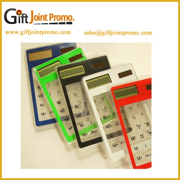 Wholesale Customized Clear Plastic Solar Calculator, Printed LOGO Portable Calculator