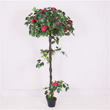 TOP sale tall bright green artificial red flower plant