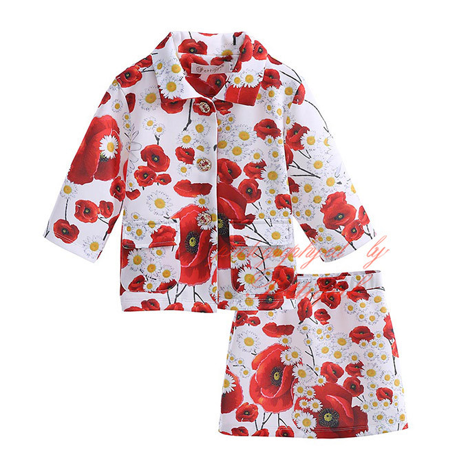 2016 New Hot Selling Kids Clothing Set With Fashion Floral Girl Clothes Set Children Clothing DMCS81204-355F