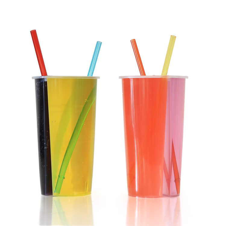 700ml Disposable Two Slides Cup, Disposable Juice Cup, Disposable Plastic Cup