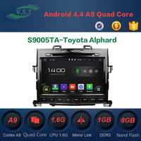 2 Din Android 4.4 Quad-Core Car dvd radio with gps navi for Toyota Alphard Supports OBD, DAB, Mirror Link, Wifi, 3G, TPMS
