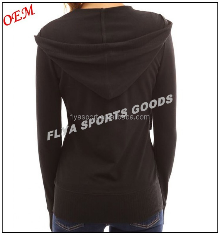 2017 New Design Black Solid Pocket Women Zip Up Hoodie Jacket Wholesale Custom Made Cheap Price