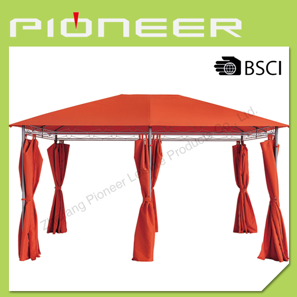 6 legs single roof metal gazebo with polyester for cover and sidewall,tent for garden and outdoor gazebo