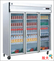 A type Refrigerating showcase Chiller freezer with Upright open glass door