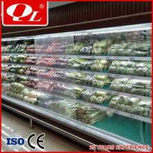 Fruit and vegetable vertical front open display supermarket refrigerated display case
