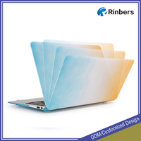 Blue/Orange Gradient Pattern Rubberized Hard Shell Cover Case for MacBook Air 11 11.6 13 13.3 Inch A1370 A1465 A1369 A1466