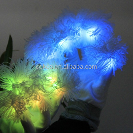 Halloween LED Flashing Gloves Black Light up Fingers Flashing Glove-Black Gloves
