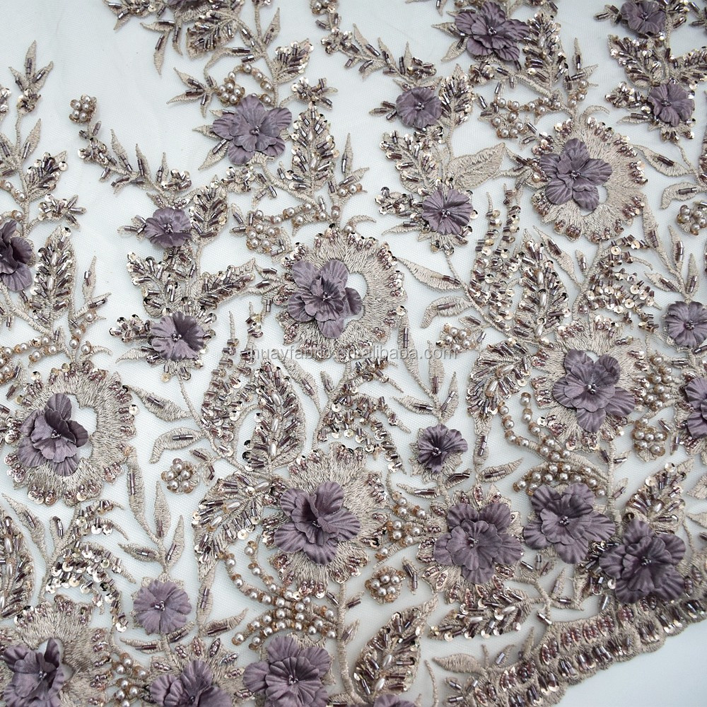 Luxury french elegant 3d flower tulle lace fabric pure handmade beaded lace with full pearls for wedding dress HY0624