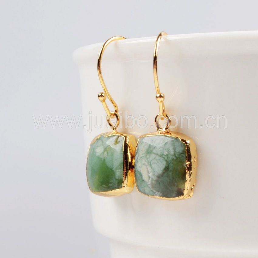 Unique natural stone green jade earring,green Gem Stone earring wholesale