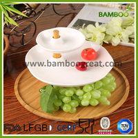 3 Tier Bamboo and Ceramic Fruit Serving Trays