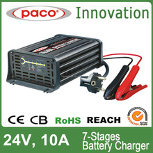 CE approved intelligent car battery charger /portable electric vehicle battery charger 24V 10AMP