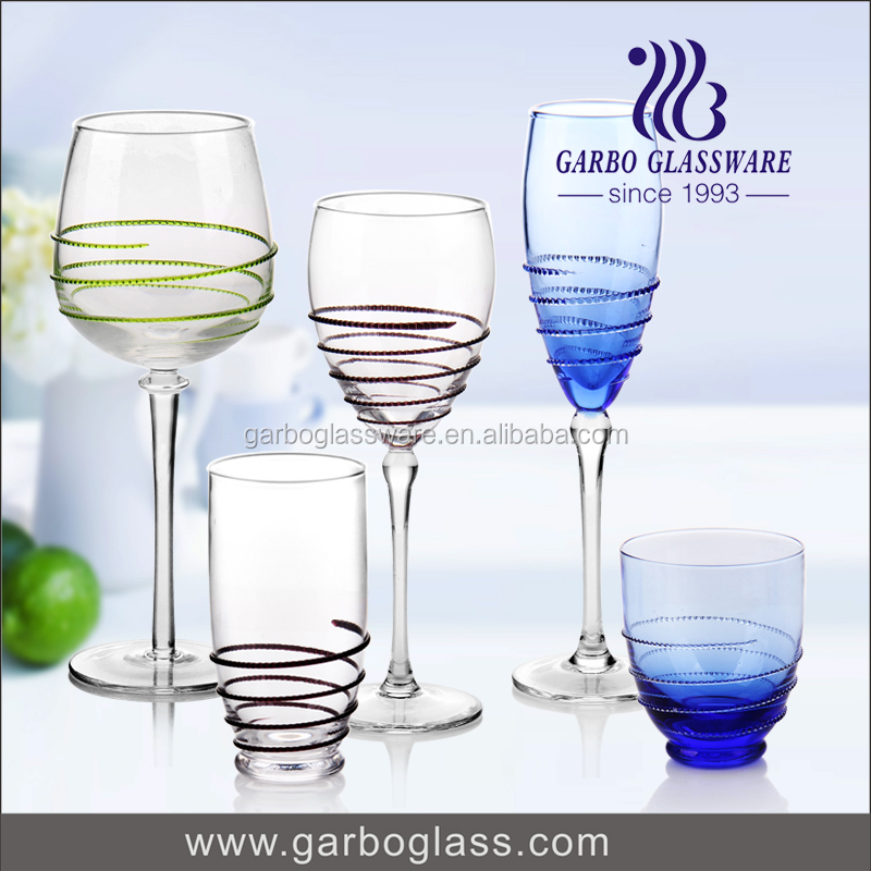 Elegant hand made glass cups for wine glass goblet drinking glassware set hot sale in Europe