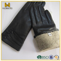 Top Quality Winter Cashmere Lined Leather Gloves for Women