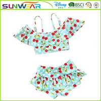 OEM service factory Hot sales little girls swimsuits bikini 2016 with hair band wholesale price