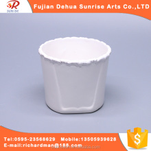 Wholesale small White ceramic cup hydroponic flower arrangement stands container