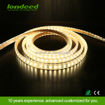 Hotel home lighting color changeable rgb smd5050 220v flexible rohs led light strip waterproof with remote control
