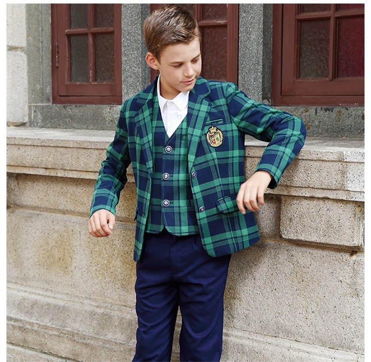 New Design Green Check School 3 Piece Formal Blazer Suits
