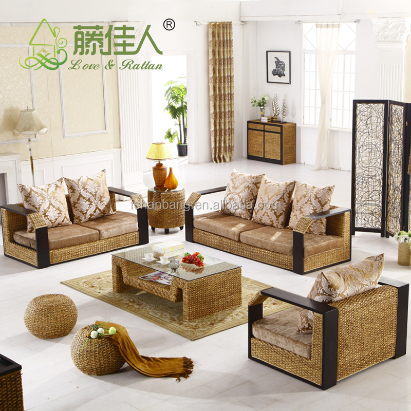 Contemporary Style Indoor Natural Rattan Seagrass Water Hyacinth Sea Weed Real Wicker Conservatory Furniture Corner Sofa Set