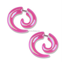 AB Acrylic Spiral Fake Cheater Ear Taper Stretcher Expander Body Jewellery-Pink