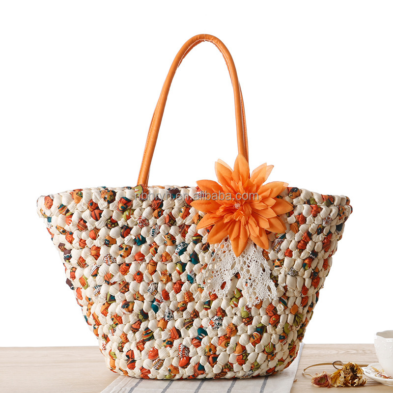Wholesale Summer Flower Straw Beach Bag