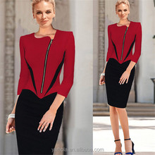 Wholasale dress 3/4 Sleeves two pieces women office wrap dresses