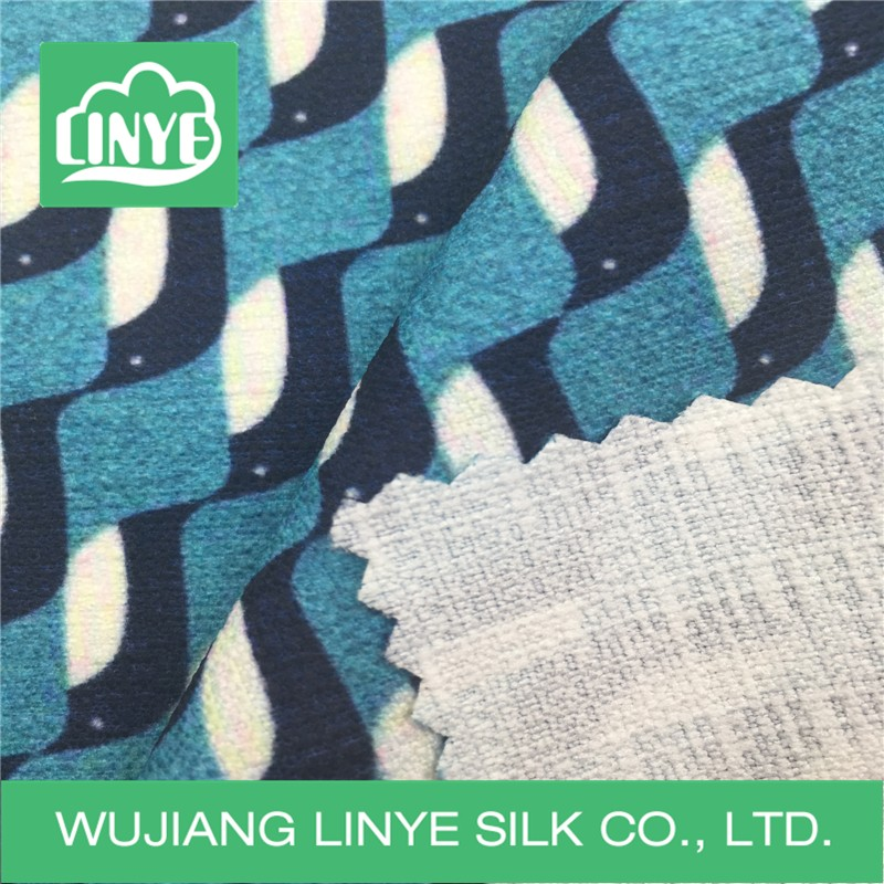 wave design polyester printing fabric spring&fall clothing fabric