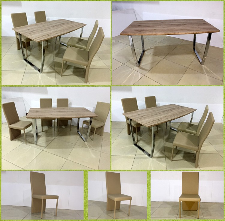 Fancy modern wood veneer simple style dining table and pu for Non wood dining table