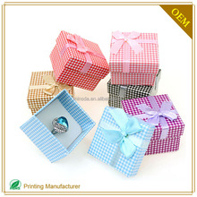 Custom Dot Paper Box For Jewelry Packaging With Bowknot Lid And Tray Type