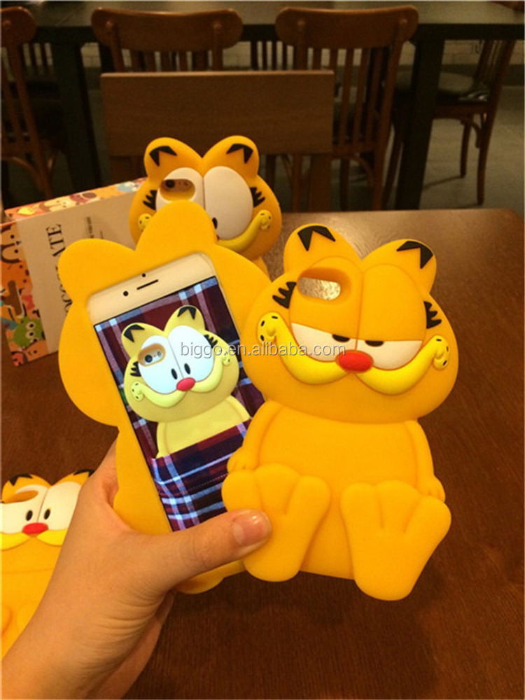 For iPhone 5/5S/6 Soft 3D Cartoon Silicone Garfield Phone Case