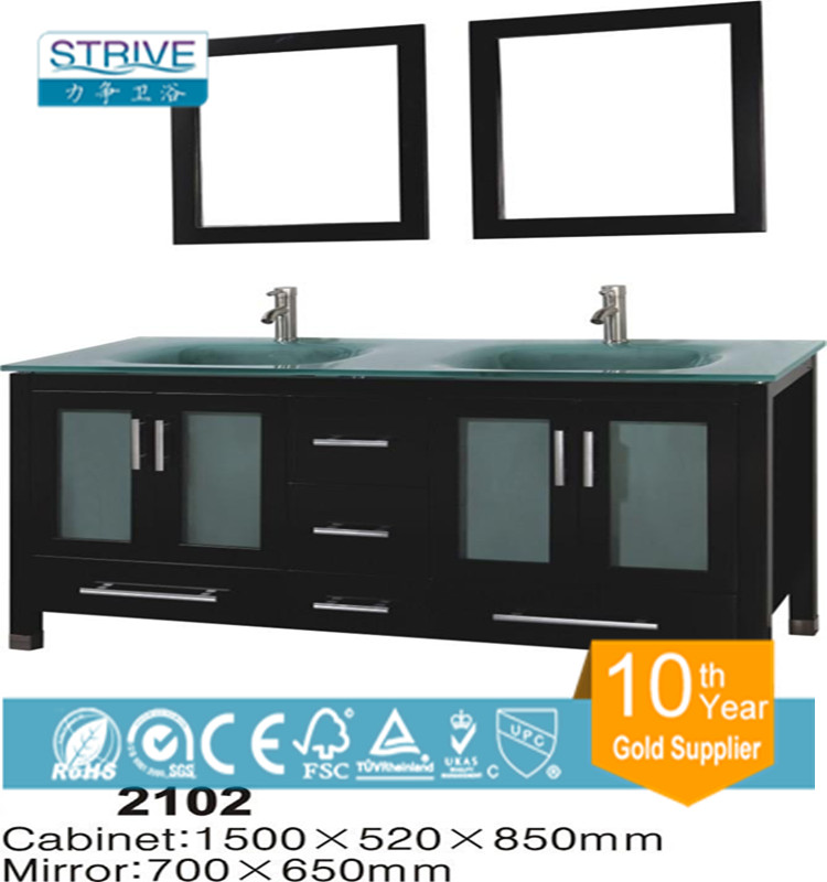60'' Large size cheap bathroom vanity cheap wooden cabinet / double sink bathroom furniture