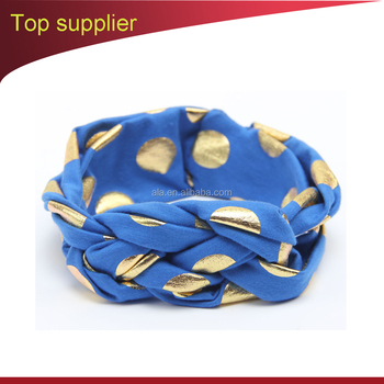 Turban Infant Headband Kid's Wrap Gold Polka Dot fashion baby head dress accessory