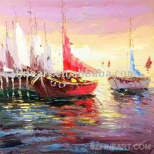 Dreamlike beautiful modern canvas oil painting of many colourful ships sailing on the sea