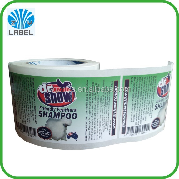 Direct manufacture customized cmyk self adhesive waterproof shampoo label packaging