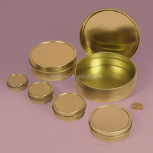 Gold Shallow Round Tin Cans