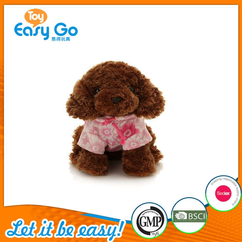 Cute Plush Dog Toy with Pink and Flower Printed Clothes for Festival Gift