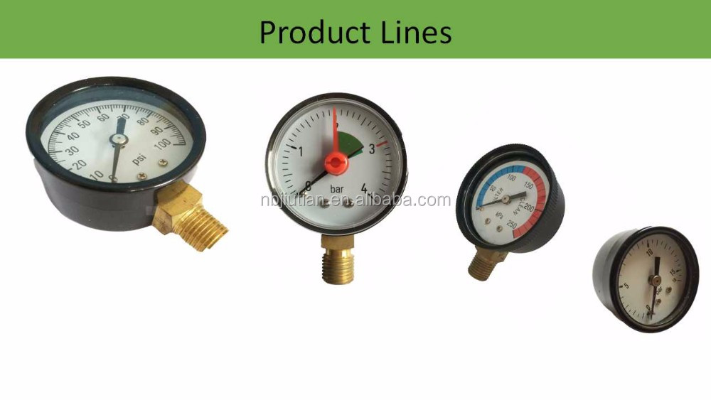 Black Metal Case,Plastic Case General Use 0-160psi And More Pressure Gauges 40MM