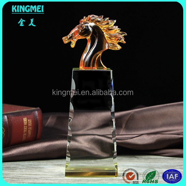 KM-XP21 Crystal k9 glass trophy award for sport competition horse model,antique blank crystal horse head trophy
