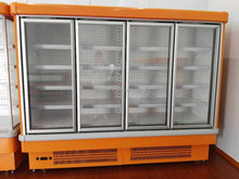 Upright Commercial Cooler Refrigerator 4 Galss Door Large Capacity