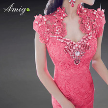 pink handmande jewelled embroidery elegant lace evening dress