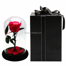 gift box packing eternal rose for girlfriend king size preserved flowers in glass
