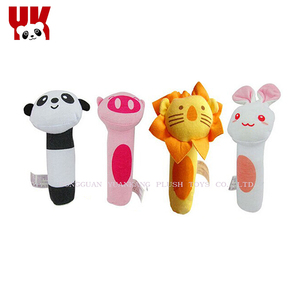 Dongguan plush toy factory making cute mini animals baby rattle toys