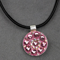 Pink Crystal Golf Ball Marker with Leather Cord Necklace Magnetic Pendant- Beautiful Golf Novelty Gifts for Lady