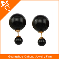 fashion double back earrings, tahitian black pearl earring, artificial big pearl stud earrings