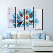 Abstract Colorful Blue Flower Original Oil Painting on Canvas
