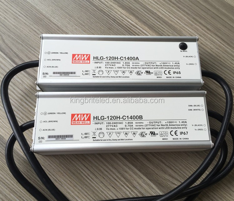 150W LED Driver IP65 Waterproof LED Driver, HLG-120H-C1400A