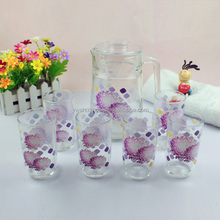 Printing Tumbler Glass Cup With A Jug Glass Cup Set