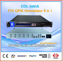DVB-C/S/S/T2 IP output satellite receiver 2ASI 6 tunner Free to Air QPSK TS Demodulator analog Demodulator COL5881A